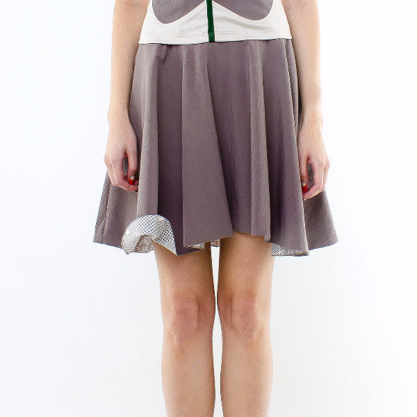 Gingko Skirt In Grey With Inner Grey Floral
