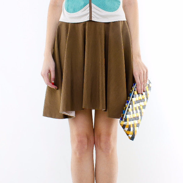 Gingko Skirt In Brown With Inner Pink Floral