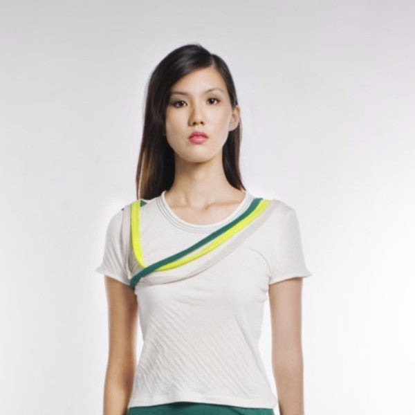 Pablo Top In White And Green