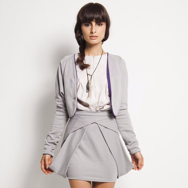 Beryl Outerwear In Light Grey With Inner Purple