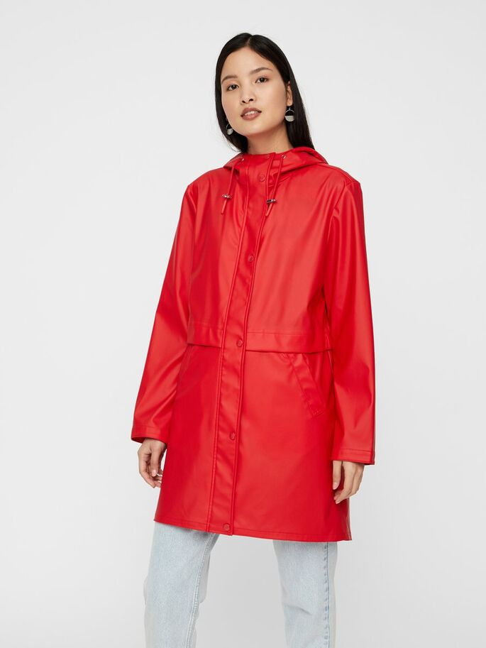 red recycled raincoat