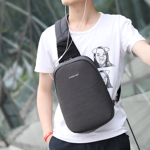 New Arrival Male Bag Casual Splashproof Oxford 9.7 inch Crossbody Bag Messager Black Grey Men Shoulder Bag - Coolmart.us