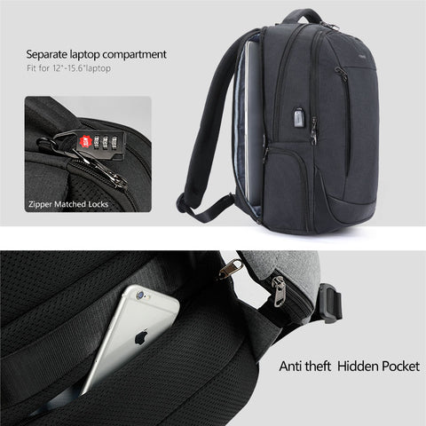 "Jacobs 15.6"" Laptop Backpacks  Anti Theft Solid Rucksack"