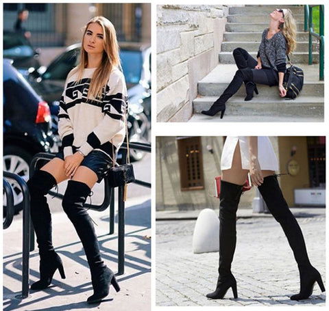 Winter Knee High Boots Sexy Stretch Over The Knee