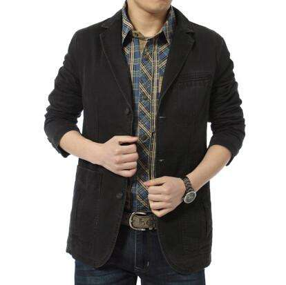 Casual Blazer Cotton Denim Parka Men's slim fit Jackets - Coolmart.us