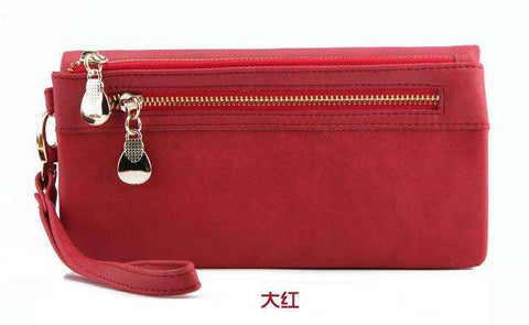 High Capacity Fashion Women Wallets Long Dull Polish PU Leather Wallet Female Double Zipper Clutch Coin Purse Ladies Wristlet - Coolmart.us