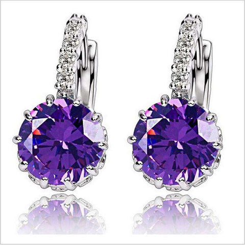 Gift Box Packing 9 Color White Pink Silver Purple Color Zircon Earrings For Women Crystal Stud Earring Fashion Wedding Jewelry - Coolmart.us