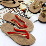High Quality Black Red Unisex Couples flip-flops shoes straw flax linen men Women beach slippers sandals home slippers On Sale
