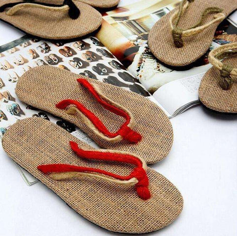 High Quality Black Red Unisex Couples flip-flops shoes straw flax linen men Women beach slippers sandals home slippers On Sale - Coolmart.us