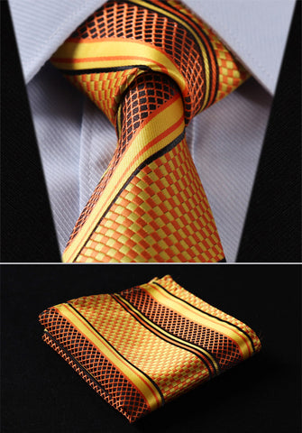 "Party Wedding Classic Pocket Square Tie TS4017N8S Orange Yellow Stripe 3.4"" Silk Woven Men Tie Necktie Handkerchief Set"