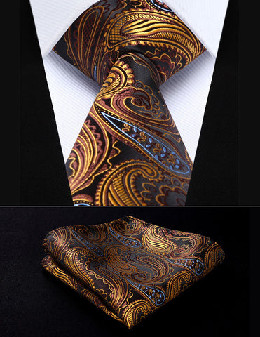 "Men's Classic Pocket Square Tie Orange Brown Paisley 3.4"" Silk Woven Necktie Handkerchief Set"