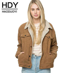 HDY Haoduoyi Winter Solid Color Women Coat Long Sleeve Turn-down Collar Jacket Coat For Female Women Single Breasted Basic Tops - Coolmart.us