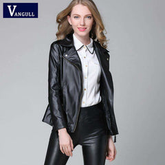 Image of Elegant Autumn Winter Leather Jacket