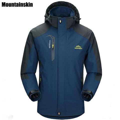 Mountainskin 5XL Men's Jackets Waterproof Spring Hooded Coats Men Women Outerwear Army Solid Casual Brand Male Clothing,SA153 - Coolmart.us