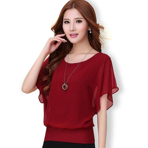 Hot Fashion Blusa Feminina 2015 Summer Casual Plus Size Slim Bat sleeve Chiffon Shirt Women Blouse Blusas Women Tops Clothing - Coolmart.us