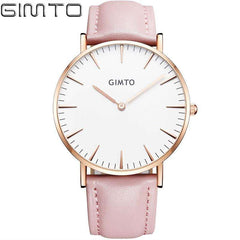 GIMTO luxury Fashion Women's watches quartz watch bracelet wristwatches leather band women dreaa watches - Coolmart.us