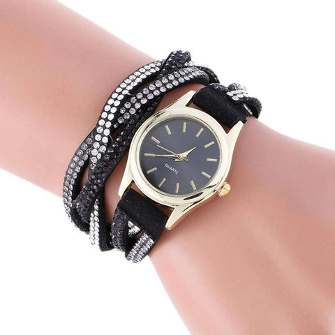 Fashion New Leather Bracelet Watch Women Dress Watches Wrap Around Pendant Quartz Analog WristWatch - Coolmart.us