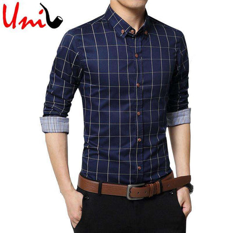Plus Size 4XL 5XL 2017 Men's Plaid Cotton Dress Shirts Male Long Sleeve Slim Fit Business Casual Shirt Camisa For Man YN259