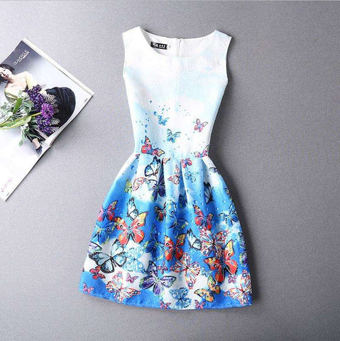 2017 Summer Sundress Women Slim Bottoming Dress Vestido de Festa Vintage Tunic Mini O-neck Sleeveless Tank A line Print Dresses - Coolmart.us