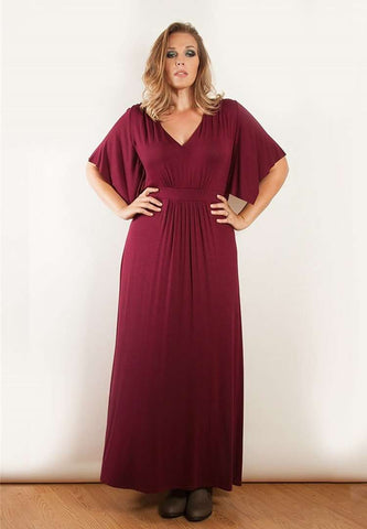 Women's Solid V-Neck 1/2 Sleeve Plus Size Evening Party Maxi Dress Plus Size XL-5XL On Sale 304