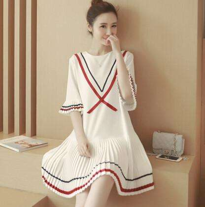 Ladies White Dresses Striped Edge Girly Style Young Girls Cute Dress in Summer on Sale