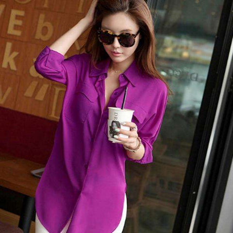 New Vogue Women Long Sleeve Chiffon Shirt Turn-down Collar Solid Loose Top Blouse On Sale - Coolmart.us