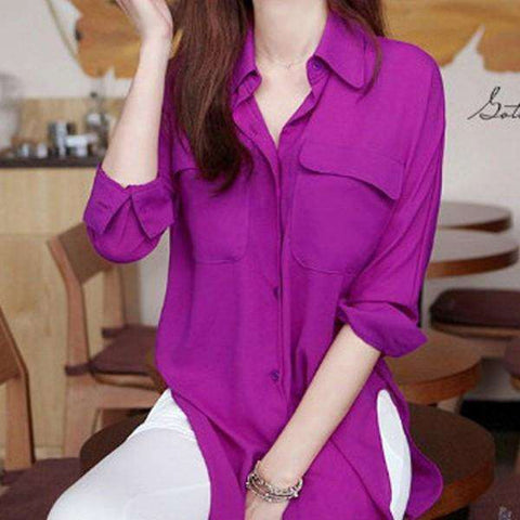 New Vogue Women Long Sleeve Chiffon Shirt Turn-down Collar Solid Loose Top Blouse On Sale