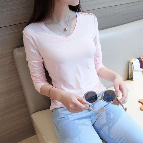Laisiyi 2016 Solid Women T-Shirt Long Sleeve Tops Thin V-Neck T Shirts Autumn Winter Bottoming Shirt 10 Color ASTS100048 - Coolmart.us
