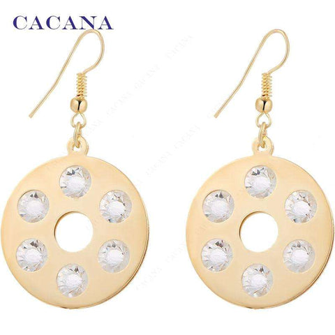 CACANA Gold Plated Dangle Long Earrings For Women 6 CZ Diamond On Round Fashion Bijouterie Hot Sale No.A1114 A1115 - Coolmart.us