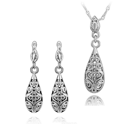 Hot Sale Vintage Pattern Exquisite Necklace Earring Set on 18KGP Rose Gold Plated Popular Ladies Jewelry Set 3 colours - Coolmart.us