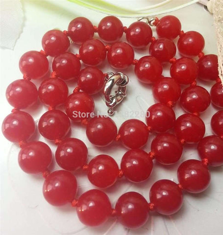 FrFree shipping Sale 2015 On Fashi Whole! Beautiful 10mm red jade beads necklace  JT5491 Charming woman jewelry - Coolmart.us