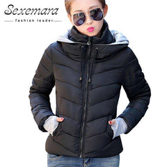 2017 Women Basic Down Top Jacket Plus Size Female Coat Slim Autumn Winter Parkas Collar Outerwear Long Sleeve Casual Jackets - Coolmart.us