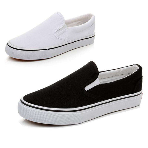 Hot Sale Unisex Solid Color Slip On Tendon Sole Canvas Shoes White/Black Color Optional Size 36-44 Available Men's Canvas Shoes - Coolmart.us