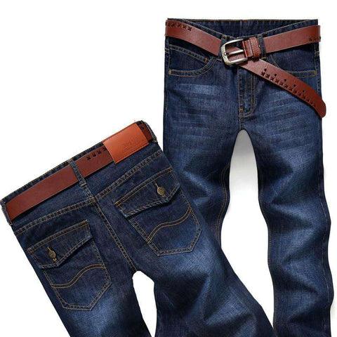 2017 New Fashiom Cotton Men's Jeans Middle Waist Straight Casual Denim Pants Jeans Slim Homme M6698 reeshipping - Coolmart.us