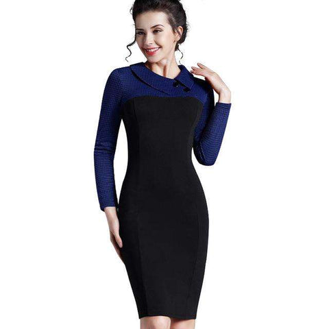 Nice-forever Elegant Vintage Fitted winter dress full Sleeve Patchwork Turn-down Collar Button Business Sheath Pencil Dress b238 - Coolmart.us