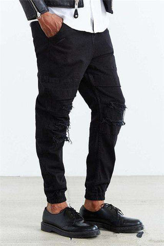 Men's Ankle Length Ripped Jeans A Runway Style
