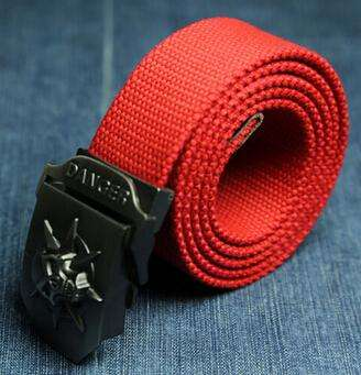 Fashion men's Canvas belt skull Metal tactics woven belt canvas belt Casual pants Cool wild gift for men belts Skull large size - Coolmart.us