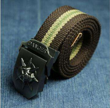 Fashion men's Canvas belt skull Metal tactics