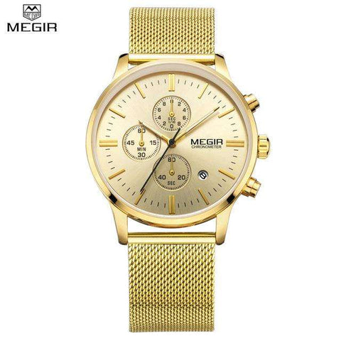 MEGIR Men's Quartz-Watch Stainless Steel Mesh Band Black Watch Chronograph Slim Mens Watch Top Brand - Coolmart.us