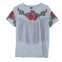 Women tassel floral print T shirt vintage red rose tees O neck short sleeve slim shirts