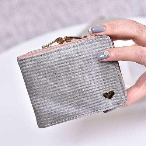 Fashion Colorful Lady Lovely Coin Purse Solid Golden Heart Clutch Wallet Large Capacity Zipper Women Small Bag Cute Card Hold - Coolmart.us