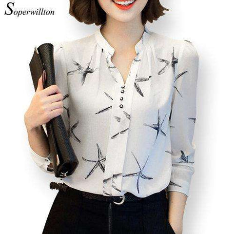 Soperwillton Long-Sleeve Blouse Women Shirt Chiffon Ruffle Tops