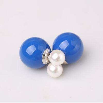 925 Sterling Silver Double Sides Pearl Earrings Studs - Coolmart.us
