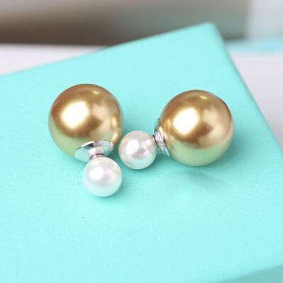 925 Sterling Silver Double Sides Pearl Earrings Studs