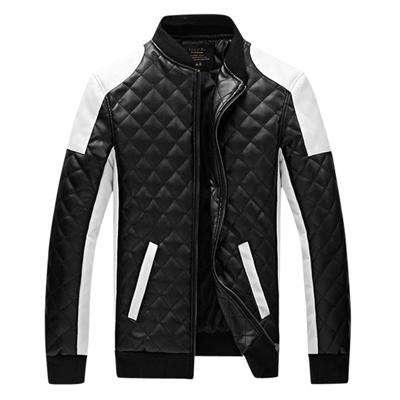 Slim Men Bomber Jackets Plaid PU Leather