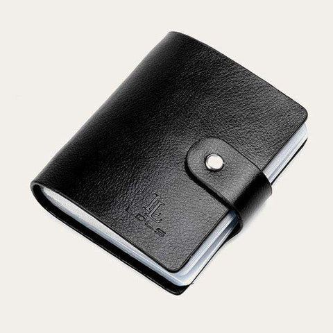 Hot Sale 60 Slots Women Men Credit Card Holder Genuine Leather Buckle Large Capacity Business ID Holders Organizer Free Shipping - Coolmart.us