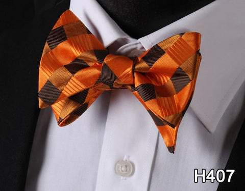 Dot Check 100%Silk Jacquard Woven Men Classic Wedding Butterfly Self Bow Tie Mens BowTie #H4 - Coolmart.us