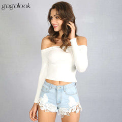Gagalook Women White Long Sleeve Off Shoulder Top Cotton Sexy Short