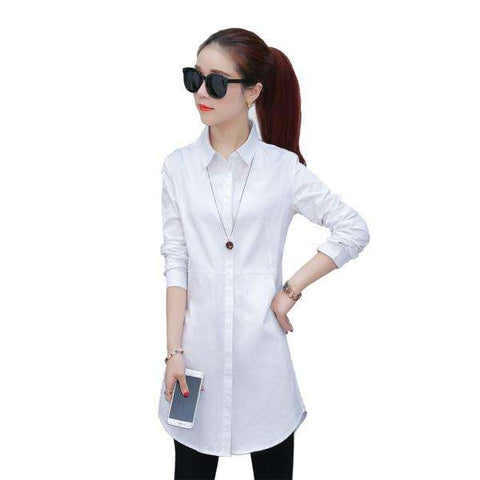 TLZC Elegant Blouse White Shirt Women Size S-2XL
