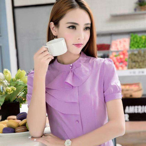 New elegant Ruffles shirt women OL formal slim stand collar short sleeve chiffon blouse office ladies work wear plus size tops - Coolmart.us